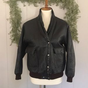 VINTAGE Distressed Leather Bomber Style Jacket